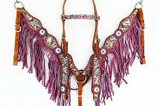 PURPLE SNAKE WESTERN LEATHER SHOW BRIDLE HEADSTALL BREAST COLLAR HORSE TACK