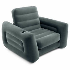 Intex Inflatable Pull Out Sofa Chair Sleeper with Twin Sized Air Bed Mattress