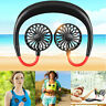 Portable USB Rechargeable Neckband Lazy Neck Hanging Style Dual Cooling Fan AU