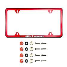 Fit Mclaren Laser Etching Stainless Steel Polish Red Slim License Frame w/Cap