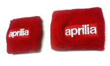 Pair Red Aprilia motorcycle front & rear brake reservoir shrouds covers socks