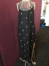 Kenar Embroidered blacklinen summer dress halter neck Size 12