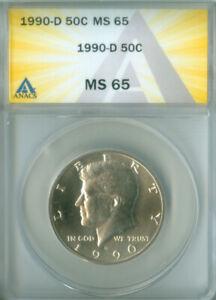 1990-D KENNEDY HALF DOLLAR ANACS MS65 FREE S/H (2026267)