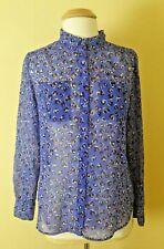 27c4bbb903d8c Liz Claiborne Button-Front Shirt Blouse Size M Blue Semi-Sheer Long Sleeve