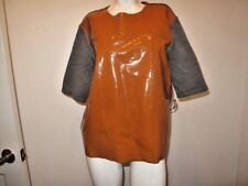 MARNI AT H&M COMBO PATENT LEATHER / COTTON KNIT TOP ORANGE/GRAY USA 12 EUR 42
