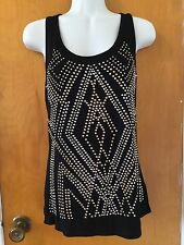 NWT Forever 21 Misses Soft Knit Black Silver & Gold Studded Racer Tank Top S/M
