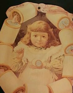 """Clark's Spool Cotton Thread Reprint Sign Victorian 8 and 3/4"""" by 10 1/4"""""""