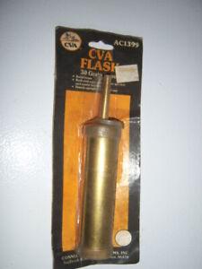 "NOS Vintage Brass CVA Black Powder Muzzleloader Flask Made in Italy 7"" RARE!"