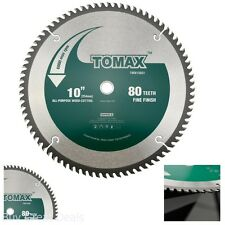 Saw Blade Miter Table Fine Finish Arbor Tool Tomax 10 inch 80 Tooth 5/8 inch