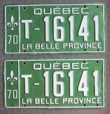 Quebec 1970 TAXI License Plate PAIR # T-16141