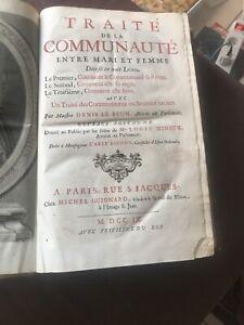 DENIS LE BRUN / TRAITE DE LA COMMUNAUTÉ / 1709 GIGNARD DROIT CIVIL In Folio
