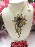 BETSEY JOHNSON LOVELY MULTI COLOR CRYSTAL INLAY FLOWER  PENDANT NECKLACE/BROOCH
