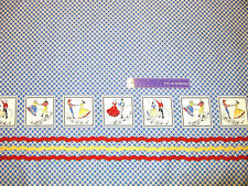 Hoe-Down Square Dance Double Border Blue Cotton Fabric BY THE HALF YARD 18x56