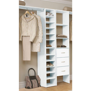 11.75 in. White Organizer for Wood Closet System, 5 Adjustable, 2 Fixed Shelves