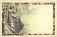 Art Nouveau Beautiful Woman in Nature MM Vienne c1900 Postcard