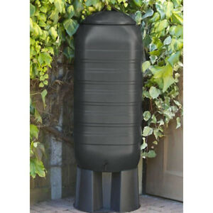 250L Black Slimline Water Butt With Tap & Lid with Stand and Diverter