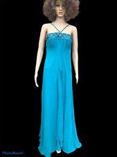 Striking Monsoon Teal Silk embellished Maxi dress size 8/10