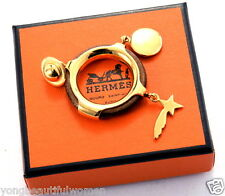 AUTH Hermes Galaxy White & Yellow Goldtone & Brown leather Moon Star Scarf Ring