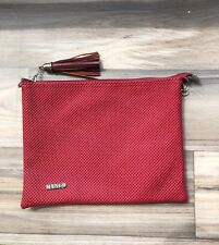 Mango Clutch Red Embossed Handbag Bag Women Faux Leather Vegan Fringe Square
