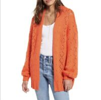 Billabong Women's Blissed Out Pointelle Cardigan Sweater Orange Small NWT N4