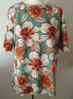NEXT (UK Size 16) Bright & Bold Floral T-Shirt Top - Scalloped Hem