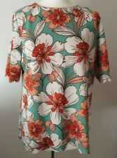 NEXT (UK Size 16) Bright & Bold Floral T-Shirt Top - Scalloped Hem