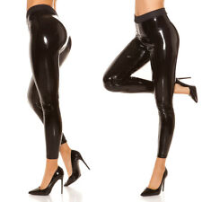 Sexy Black Wet Leather Latex Look Skinny Leggings with PU