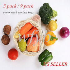 3/9 pcs Simple Ecology Organic Cotton Mesh Grocery Shopping Produce Fruit Bags