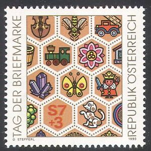 Austria 1990 Stamp Day/Butterfly/Train/Bee/Dog/Fire/Music/Gem/Mineral 1v n24865