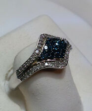 .50cttw Blue & White Diamond sideways diamond shaped Sterling Silver Ring #118A