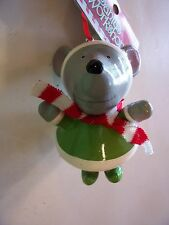 STANDING GRAY MOUSE WITH RED & WHITE SCARF ORNAMENT CHRISTMAS DECORATION