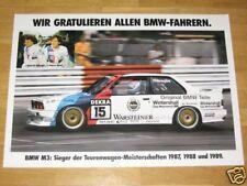 BMW M3 E30 POSTER 10 - GRATULATION SIEGER 1987/88/89 A1 ORIGINAL VINTAGE IN MINT