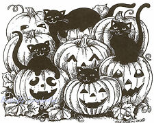 Halloween Cats & Pumpkins Wood Mounted Rubber Stamp Northwoods Rubber Stamp New