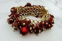 Vintage Dark Red Beaded Lucite and Acrylic Gold Tone CHA CHA Braelet *EUC*