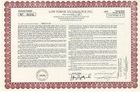 Low Power Technology Inc > 1985 Colorado LPTV old stock certificate share