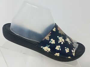 FitFlop Sola Slides Womens Size 9 Black Leather Floral Print Sandal Shoes