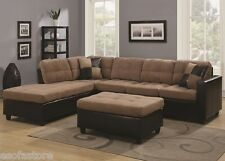 Two Tone Tan Microfiber Sectional Sofa w/ Reversible Chaise Lounge Living Room