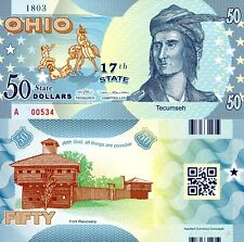 USA 50 Dollars Ohio State #17 Fun-Fantasy Note Banknote Tecumseh Fort Recovery