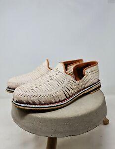 huaraches mexicanos para hombre en color natural, zapatos con suela de cuero