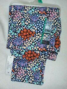 New Juniors  XL (15/17) Blue Floral print Ankle Leggings