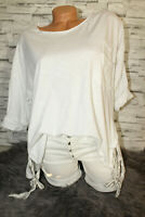 Italy Oversized Shirt puder weiß Vintage Gr.36 38 40 42 blogger Tunika Pulli