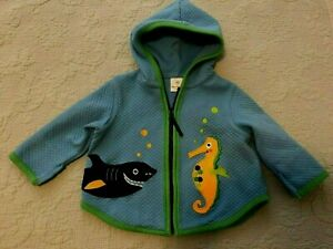 Hanna Andersson Hoodie Jacket Blue Fish Sea Horse Baby Size 60   3-6 months MINT