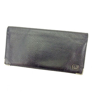 Dunhill Wallet Purse Long Wallet Black Silver Mens Authentic Used S580