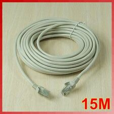 15M 50 FT RJ45 CAT5 CAT5E Ethernet LAN Internet Network Cord Cable Gray New