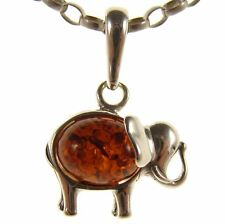 BALTIC AMBER STERLING SILVER 925 ELEPHANT ANIMAL PENDANT JEWELLERY JEWELRY GIFT