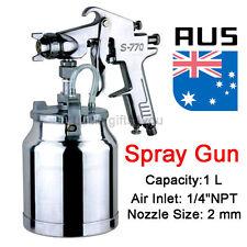 "1L Pot 1/4"" Suction Feed Heavy Duty Air Paint Spray Gun Hose Compressor Fitting"