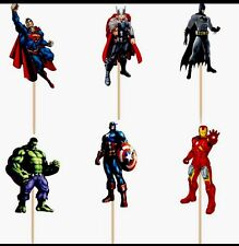 12 X Avengers Cake Picks,Cupcake Toppers Birthday Party Decoration Superhero