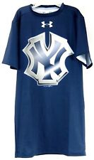 Under Armour Mens Athletic Tee Shirt Blue Compression Fit Yankees Logo Size S