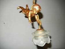 ~ 1930 OLD Darling French Bronze Petit Cherub Swinging Light Chandelier~