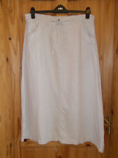 LANDS' END oatmeal light beige calf long maxi PURE LINEN summer skirt 12 40